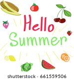 hello summer vector fruits... | Shutterstock .eps vector #661559506