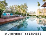 luxury interior design of pool... | Shutterstock . vector #661564858