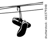 Shoe Tossing. Sneakers On Power ...