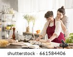 happy grandmother and... | Shutterstock . vector #661584406