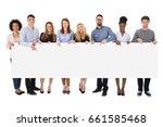 group of happy multiracial... | Shutterstock . vector #661585468