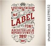 vintage label font. whiskey... | Shutterstock .eps vector #661598152