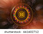 Classic Roulette Wheel Game with Blowing Casino Chips. Concept 3D Rendered Illustration. - stock photo