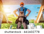 New House Building Project. Construction Contractor Worker in the Middle of Future Balcony Entrance Preparing For the Next Move. Home Builder. - stock photo