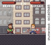 pixel art fighting game scene... | Shutterstock .eps vector #661605685