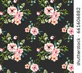 seamless floral pattern with... | Shutterstock . vector #661606882