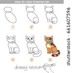 drawing tutorial. step by step... | Shutterstock .eps vector #661607596