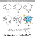 drawing tutorial. step by step... | Shutterstock .eps vector #661607605