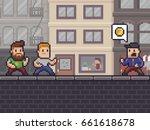 pixel art scene with two... | Shutterstock .eps vector #661618678