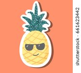 cute cartoon pineapple with... | Shutterstock .eps vector #661623442