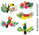 set of isolated decorative... | Shutterstock .eps vector #661624432