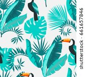 seamless tropical background.... | Shutterstock .eps vector #661657846