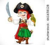 cute boy dressed as pirate with ... | Shutterstock .eps vector #661658128