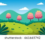 foot of a mountain. vector... | Shutterstock .eps vector #661665742