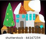 winter christmas farm background | Shutterstock .eps vector #66167254