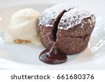 individual chocolate pudding... | Shutterstock . vector #661680376