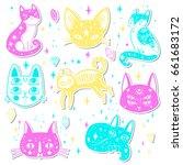 witch's cat. vector... | Shutterstock .eps vector #661683172