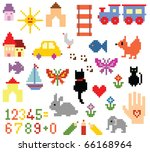 set of embroidery elements | Shutterstock .eps vector #66168964