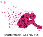 silhouette of very sad young... | Shutterstock .eps vector #661707415