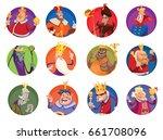 vector set of twelve round... | Shutterstock .eps vector #661708096