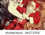 santa claus with presents and...
