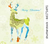 decorative christmas deer | Shutterstock .eps vector #66171691