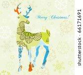decorative christmas deer | Shutterstock .eps vector #66171691