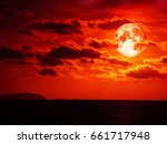 full blood moon and cloud moving in the night sky, Elements of this image furnished by NASA