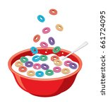 vector red bowl with cereals in ... | Shutterstock .eps vector #661724095