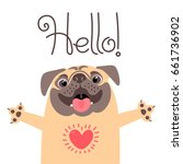 greeting card with cute dog.... | Shutterstock .eps vector #661736902