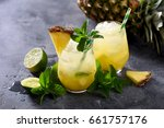 cold pineapple drink with... | Shutterstock . vector #661757176