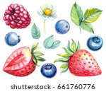 set of hand drawn watercolor... | Shutterstock . vector #661760776