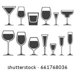 set of wineglass and glass... | Shutterstock .eps vector #661768036