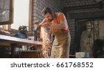 grinding metal tools with... | Shutterstock . vector #661768552