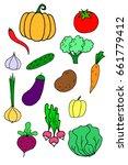 vegetable vegan food doodle | Shutterstock .eps vector #661779412