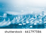 double exposure of coins with... | Shutterstock . vector #661797586
