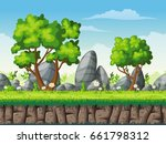 seamless cartoon nature... | Shutterstock .eps vector #661798312