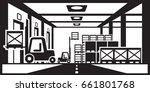 forklifts distribute pallets in ...   Shutterstock .eps vector #661801768