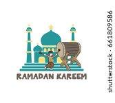 eid mubarak theme greeting card ...   Shutterstock .eps vector #661809586