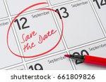 save the date written on a... | Shutterstock . vector #661809826