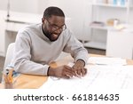 joyful hard working engineer... | Shutterstock . vector #661814635