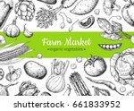 vegetable hand drawn vintage... | Shutterstock .eps vector #661833952
