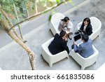 top view of business discussion | Shutterstock . vector #661835086