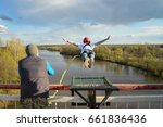 rope jumping from high altitude ... | Shutterstock . vector #661836436