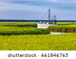 Shrimp Boat In A Creek In The...