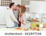 happy family preparing... | Shutterstock . vector #661847146