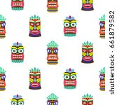 hawaiian tiki mask seamless... | Shutterstock .eps vector #661879582