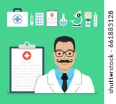 doctor male with clipboard.... | Shutterstock .eps vector #661883128