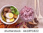 egg and pork in brown sauce. | Shutterstock . vector #661891822