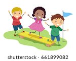 illustration of stickman kids... | Shutterstock .eps vector #661899082